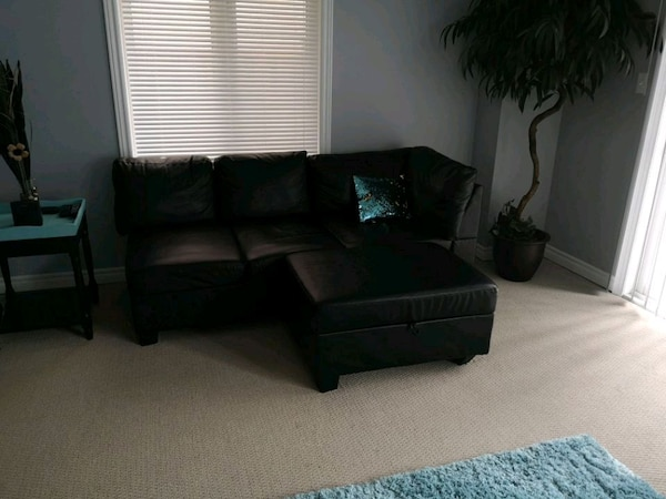 Black Pleather Sectional $250