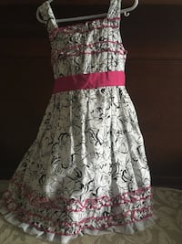 White, black and pink Kids Dress