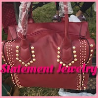 Red leather tote bag. Essex, 21221