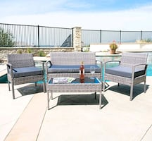 Outside 4 piece Set Blue grey gray wicker patio furniture, glass table