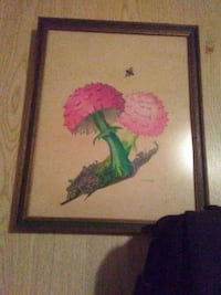 painting of two pink mushrooms with brown wooden frame