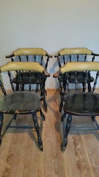 4 Vintage Chairs Solid Oak Wood Leather Baltimore Pasadena, 21122
