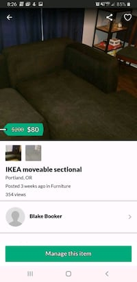 96×56 IKEA 2 piece sectional  price is negotiable.  Portland, 97206