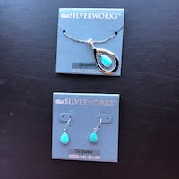 New pair of silver-and-Turquoise earrings and pendant necklace