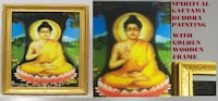 "Spiritual Gautama Buddha Painting with Golden Wooden Frame. Dimension: 14""W x 16""H SOUTHAMPTON"