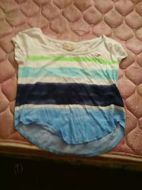white,  blue, and teal Hollister scoop-neck cap-sleeve blouse Willard, 44890