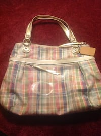 Women's coach white and pink plaid tote bag Swanton, 05488