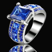 New Blue Sapphire CZ Silver Plated Size 7 Calgary