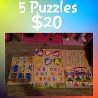5 different kids learning puzzkes Dartmouth, B3A 2J8