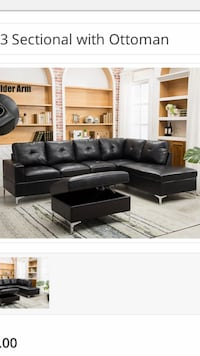 Black Sectional with Storage ottoman  Balch Springs, 75181