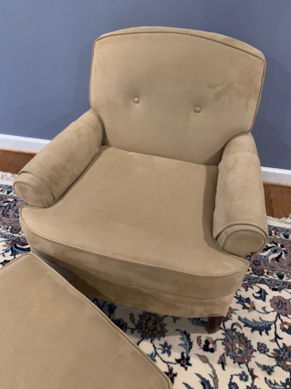 Leather Chair and Foot Rest - $40