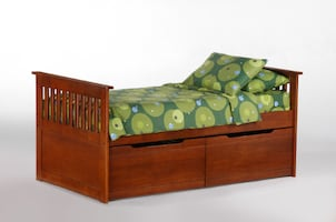 Captains Bed With Drawers in Cherry or Natural