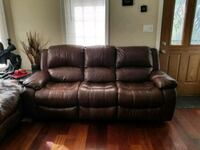 Brown leather 3-seat recliner sofa and a loveseat  Elmhurst, 60126