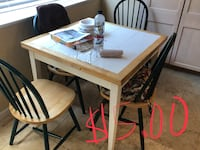 rectangular white wooden table with four chairs dining set Oakley, 94561