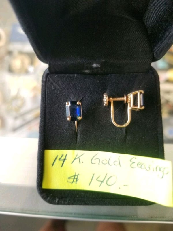 14K gold earings w blue stones. They are unpierced 3583235b-10c6-4bf1-9c66-f278c769cdd8