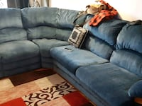 gray suede sectional sofa with throw pillows Toronto, M8V 3Y9