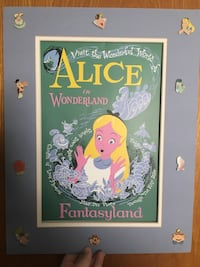 Disney Alice in wonderland classic ride print and matte with rare  vintage Disney trading pins. Buena Park, 90620