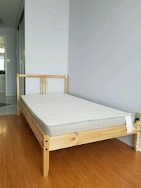 white wooden bed frame with white mattress Mississauga, L5B 3X7