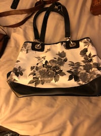 White and black floral leather tote bag Laurel, 20723