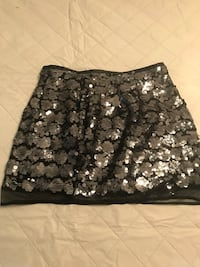women's black with silver sequin skirt