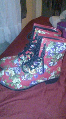 red, blue, yellow, and green floral lace up boots