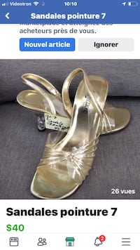 Pair of silver open toe ankle strap heels Size 7/ sandales Gatineau, J8V 3Y8