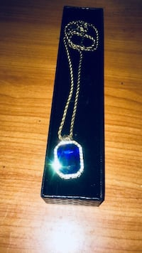 Rope chain W Blue Octagon Pendant  New York, 10037