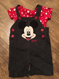 red and black Mickey Mouse romper