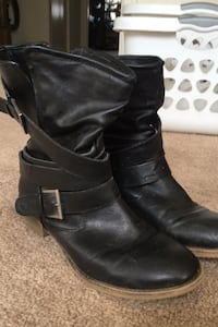 Slightly above ankle slouch women's black boot. Size 10