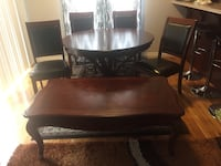 5 piece chocolate dining set and coffee table  Edmonton, T5Y 3M3