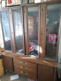 brown wooden framed glass display cabinet Albuquerque, 87110