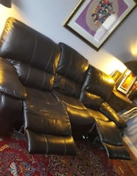 Black Leather Recliner Sofa and Rocker/Recliner BALTIMORE