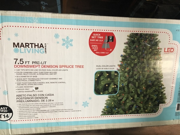 Martha Living 7 5ft Pre Lit Downswept Denison Spruce Tree