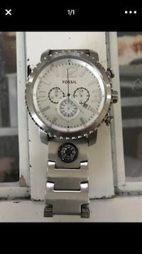 Round silver chronograph watch with silver link bracelet Fort Myers, 33908