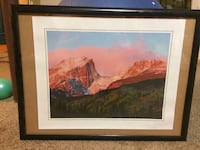 tall rock mountain beside forest painting