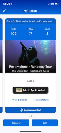 2 Post Malone tickets  King, L0G 1T0