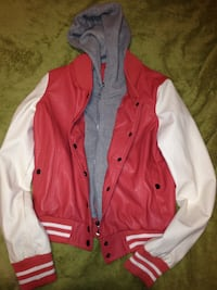 Pink & white leather jacket with hood Piney Flats, 37686