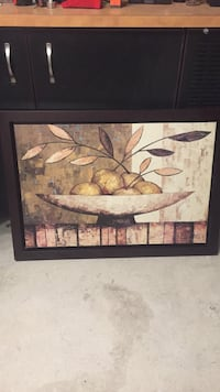 Yellow and gray fruit in bowl still life painting Laval, H7R
