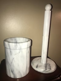 Vintage set White Marble Kitchen Utensil Holder & Paper Towel Holder  Calgary, T3E 6L9