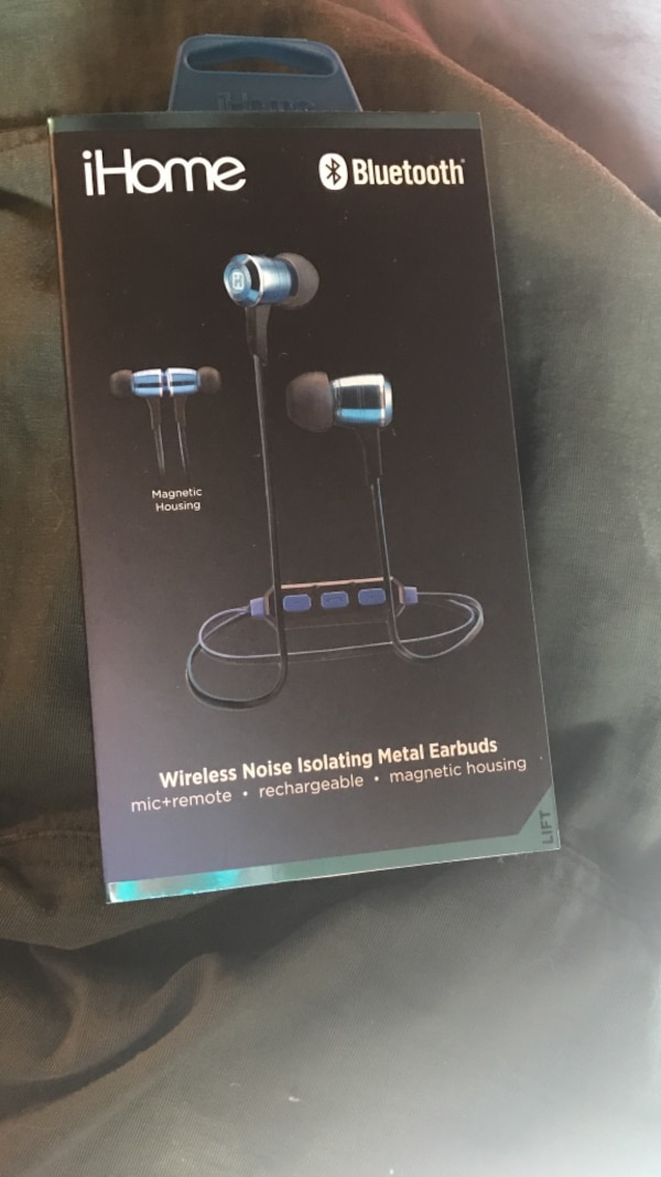 5e6733b2300 Used black iHome Bluetooth wireless noise isolating metal earbuds box for  sale in Montgomery