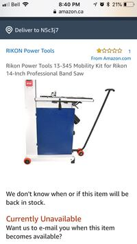 Rikon Power Tools 13-345 Mobility Kit for Rikon 14-Inch Professional Band Saw South-West Oxford, N5C 3J7