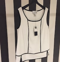 NEW w/ tags!* Joseph Ribkoff - White/Black Sleeveless Blouse Laval