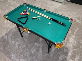 Kids Billiard Table, Pool Game Table Includes Cues, Ball, Chalk, Rack
