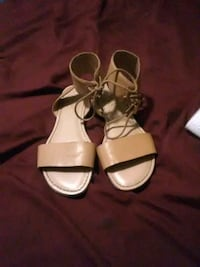 pair of white leather open-toe sandals 620 mi