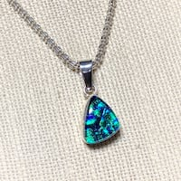 Vintage Sterling Silver Dichroic Glass Pendant with Sterling Silver Ball Chain Ashburn