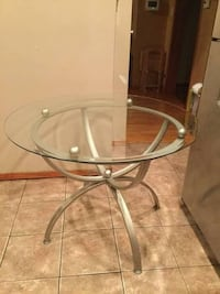 Glass Dining Table + Black Chairs to go with it