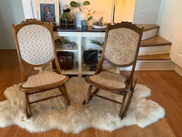 Vintage Upholstered Folding Rocking Chairs