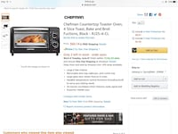 Chefman countertop toaster oven 4 slice toast bake and broil fuctions RJ25-4-CL 斯普林菲尔德, 65806