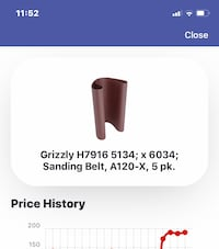 Grizzly Sanding Belts A-120X . 5 pack. Sells for $189 Murfreesboro, 37128