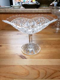 Diamond and Button Glass Fruit Bowl